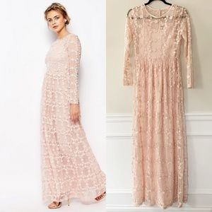 ASOS True Decadence pink embroidered maxi dress 10